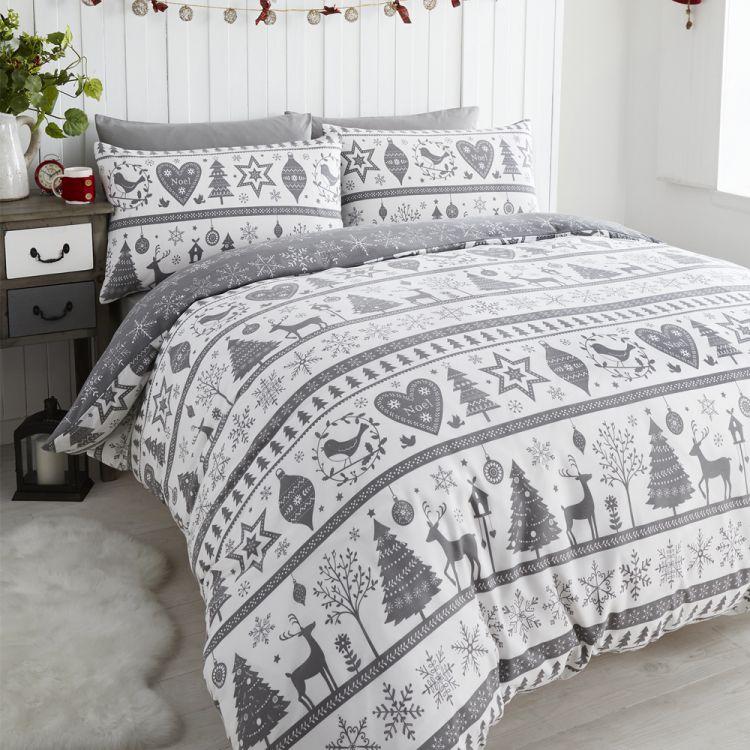 Snowflake | Christmas | Reindeer | Duvet | Quilt | Cover | Grey ...