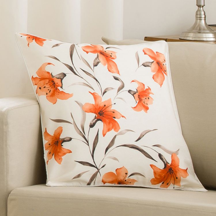Lily Cushion Cover Orange Cream 45cm X 45cm Tonys Textiles