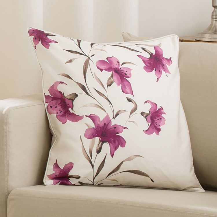 Lily Cushion Cover Purple Cream 45cm X 45cm Tonys Textiles
