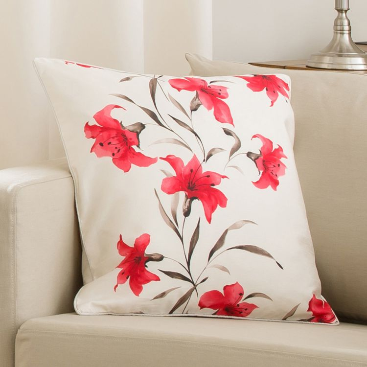 Lily Cushion Cover Red Cream 45cm X 45cm Tonys Textiles