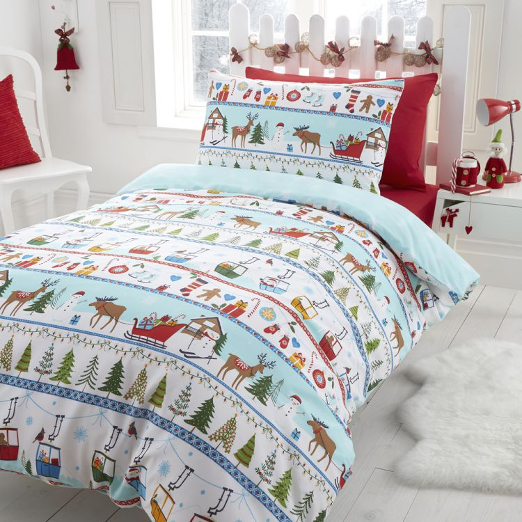 christmas reindeer festive quilt duvet tonys. Black Bedroom Furniture Sets. Home Design Ideas