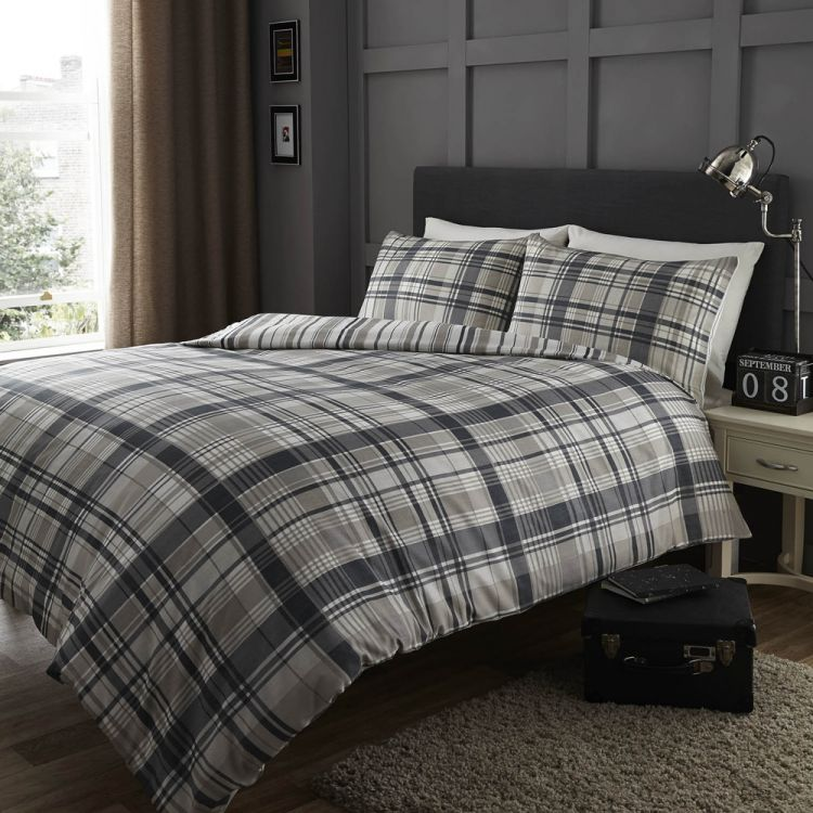 Stripe Check Black Grey Quilt Cover Tony S
