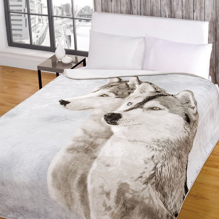 Wolf Husky Mink Fleece Blanket Throw Tonys