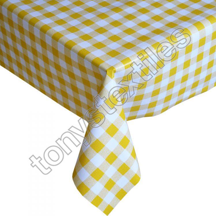 Gingham Check Yellow Plastic Vinyl Tablecloth