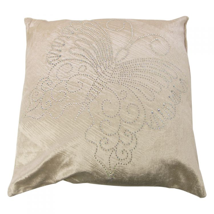 Diamante Sparkle Butterfly Cushion Cover Cream Tonys