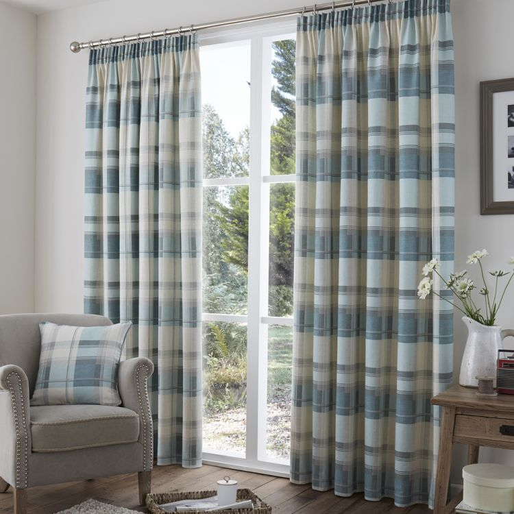 Check Tape Top Lined Curtains Red Stripe