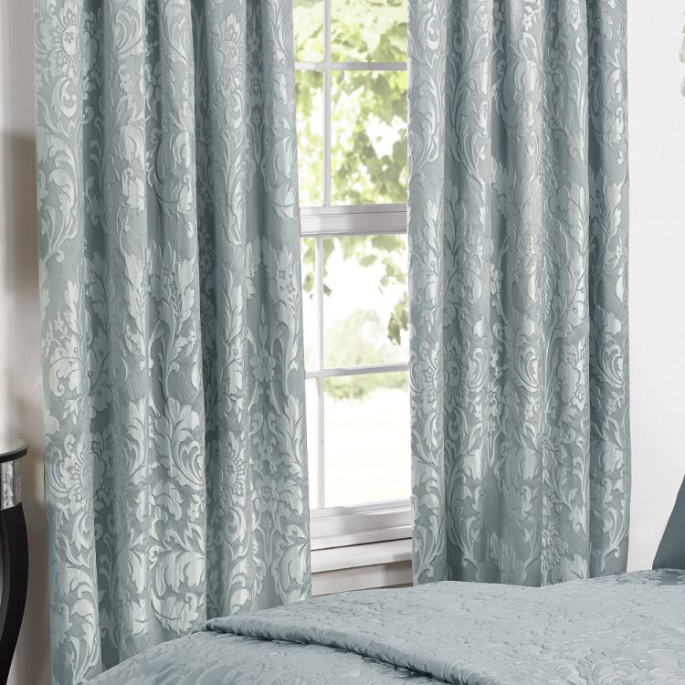 Charleston Duck Egg Blue Curtains Tape Top Tonys