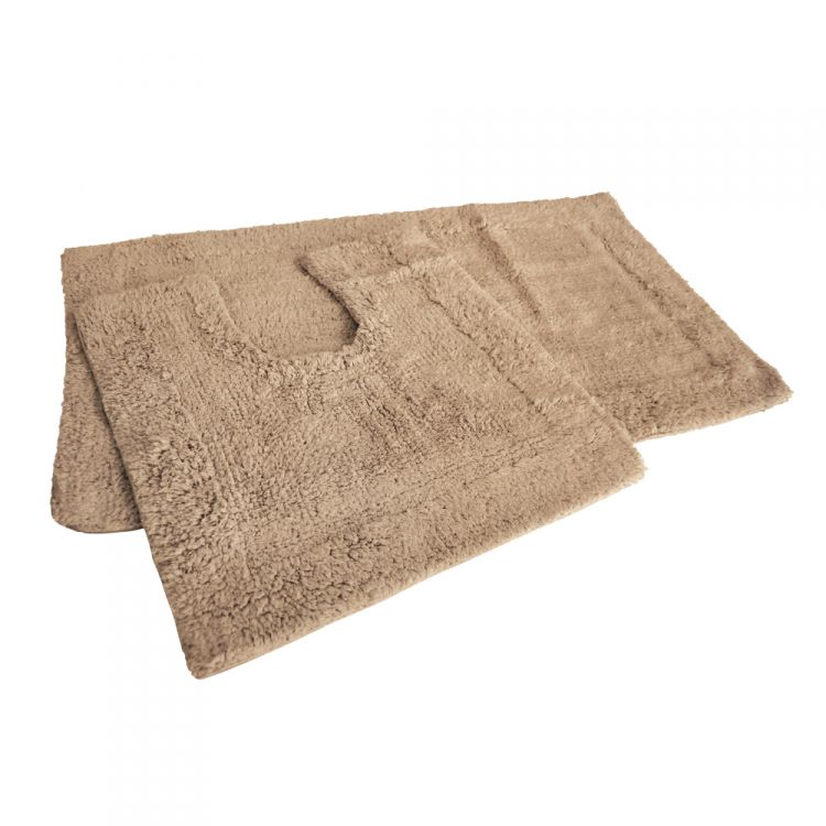 Beige latte bath mat set 100 cotton tonys textiles for Beige bathroom set