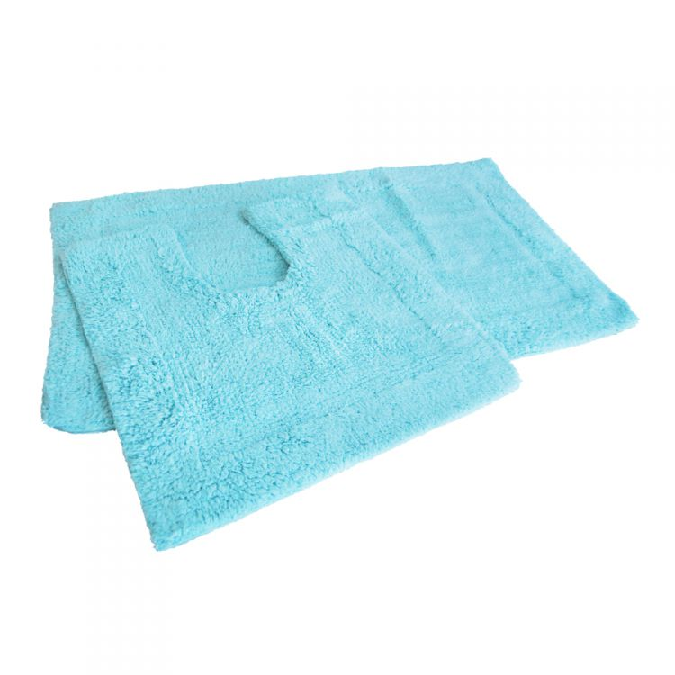 Blue Bath Mat Set 100 Cotton Tonys Textiles