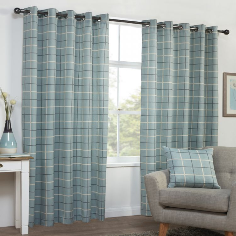 Duck Egg Blue Teal Check Stripe Eyelet Curtains