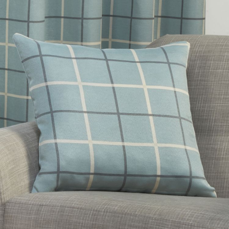 duck egg blue highland check cushion cover tonys. Black Bedroom Furniture Sets. Home Design Ideas