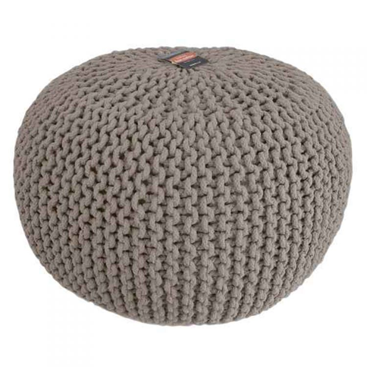 Large Knitted Pouffe Footstool Foot Cushion Rest Natural