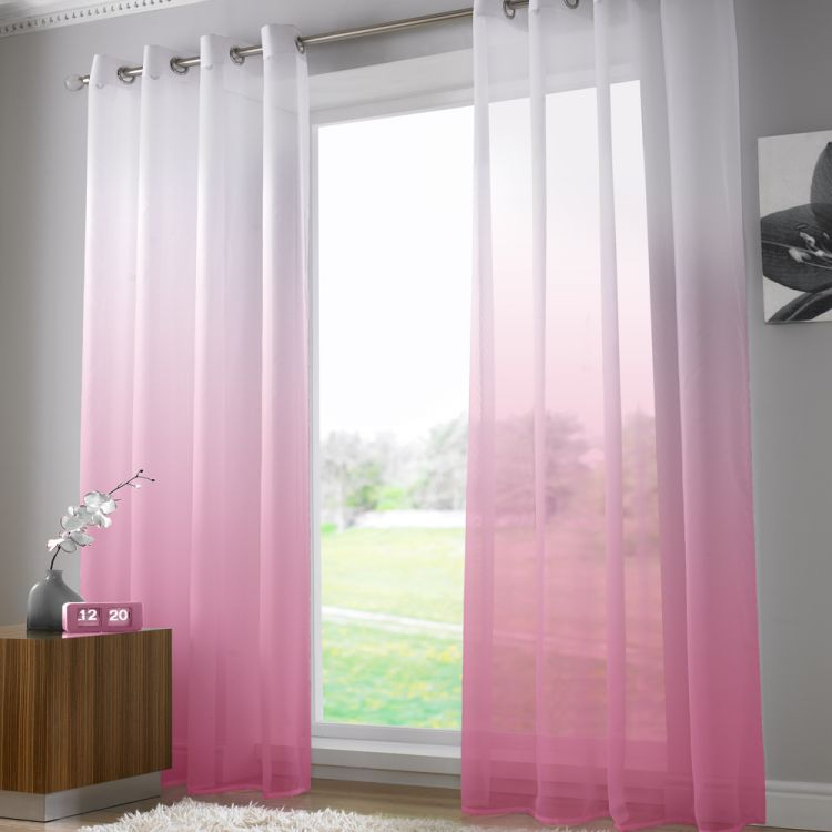 Harmony Fuchsia Pink Voile Curtain Panel Ring Top
