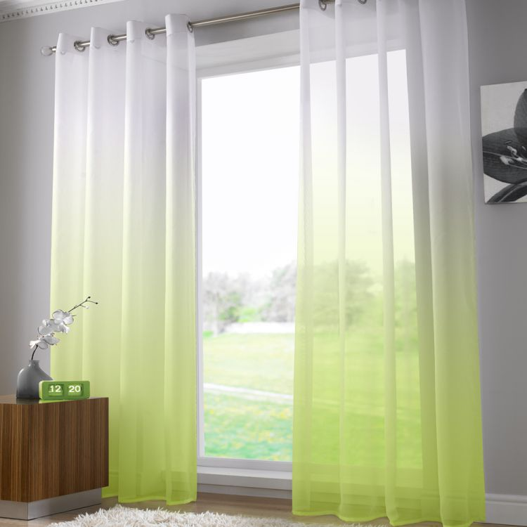 Harmony Lime Green Voile Curtain Panel Ring Top