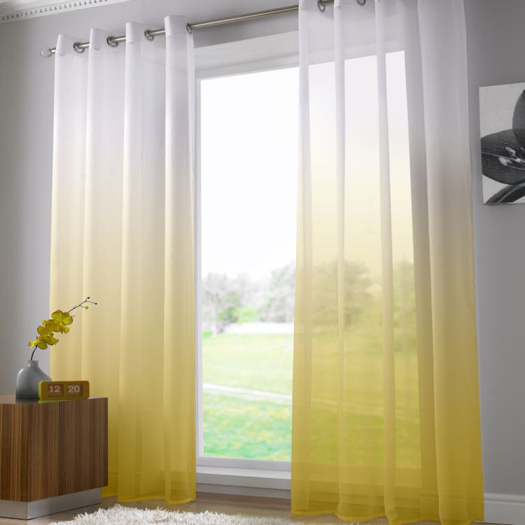 Harmony Yellow Voile Curtain Panel Ring Top