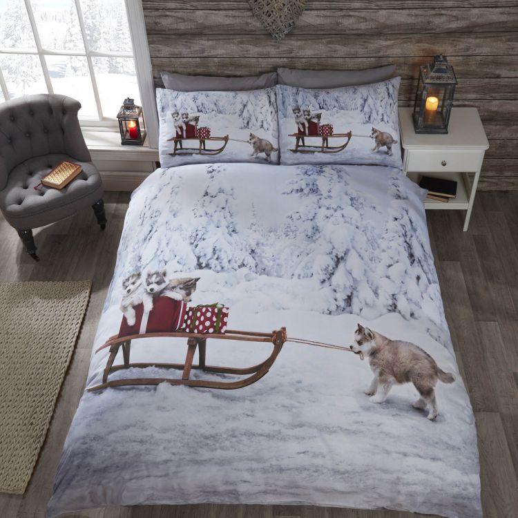 Huskies Christmas Quilt Cover Set Tonys Textiles