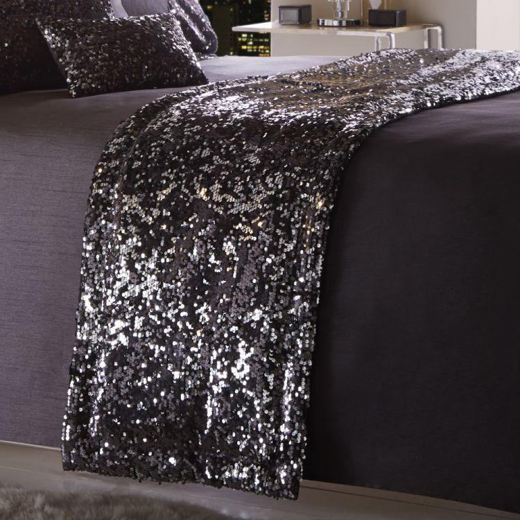 Dazzle Sequin Runner Charcoal Tonys Textiles