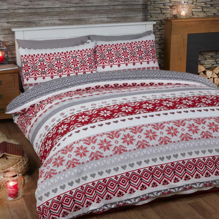 fairisle christmas print red flannelette quilt. Black Bedroom Furniture Sets. Home Design Ideas