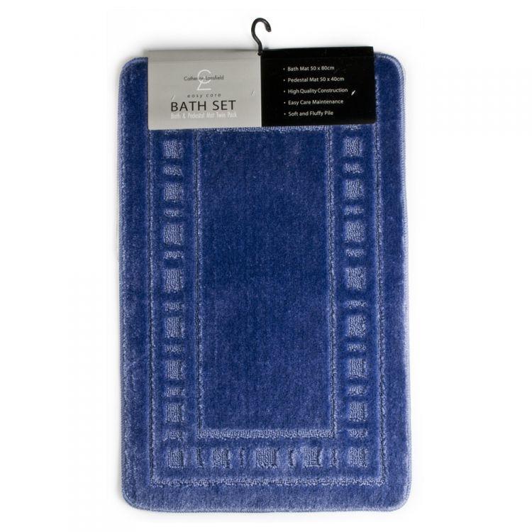 Catherine Lansfield Armoni Blue Bath Mat Set Tonys