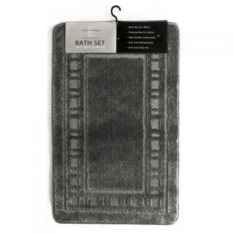 Catherine Lansfield Armoni Grey Bath Mat Set Tonys