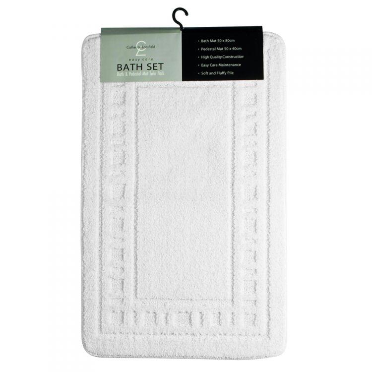 Bath Mat Sets White : Catherine lansfield armoni white bath mat set