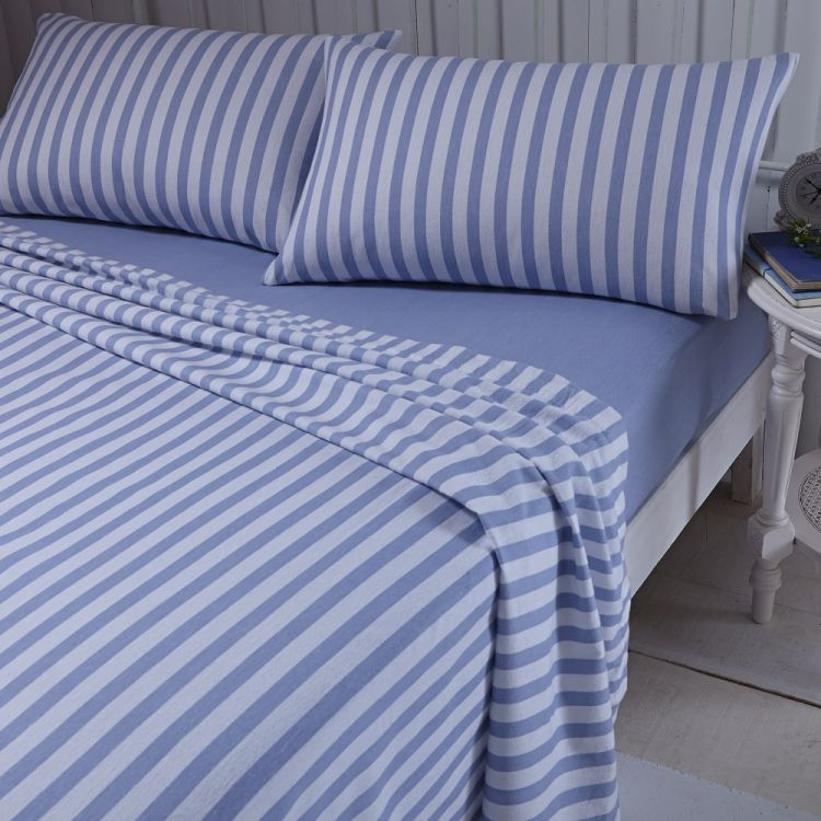 flannelette blue brushed cotton stripe sheet set. Black Bedroom Furniture Sets. Home Design Ideas