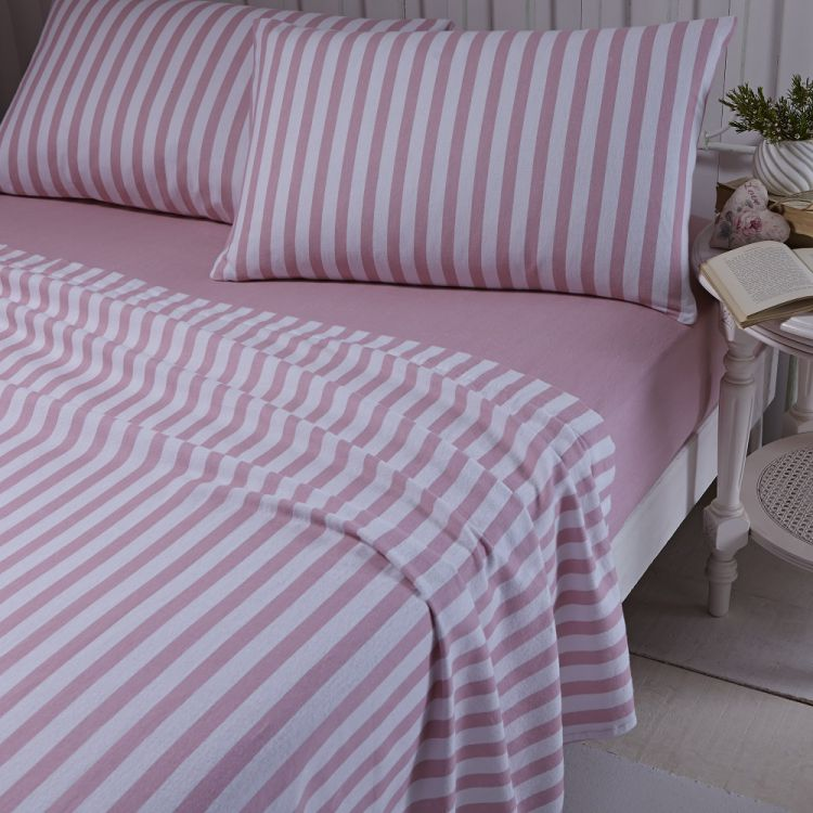 flannelette pink brushed cotton stripe sheet set. Black Bedroom Furniture Sets. Home Design Ideas