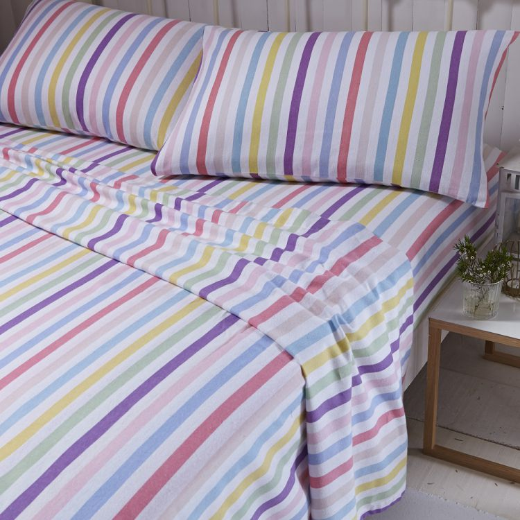 flannelette multi brushed cotton stripe sheet set. Black Bedroom Furniture Sets. Home Design Ideas