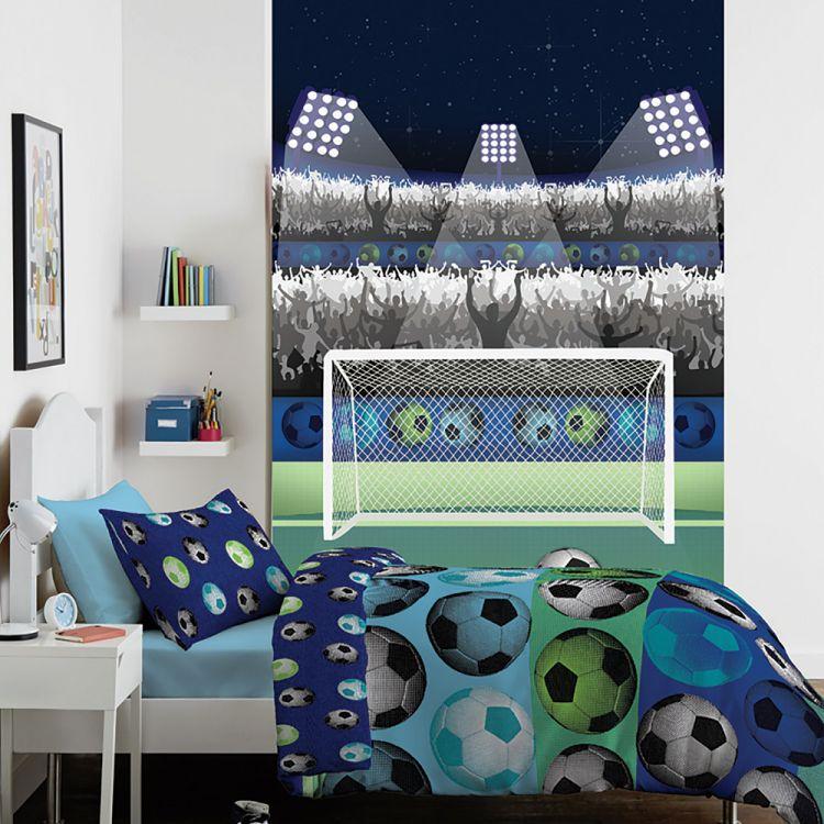 Football Blue Wall Art Tonys Textiles