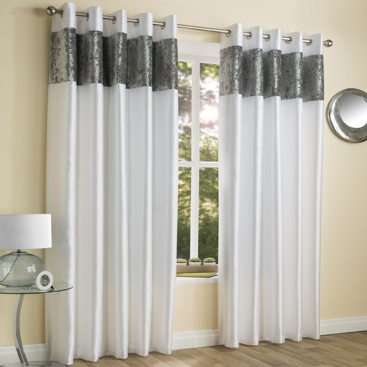 Amalfi White Crushed Velvet Eyelet Curtains