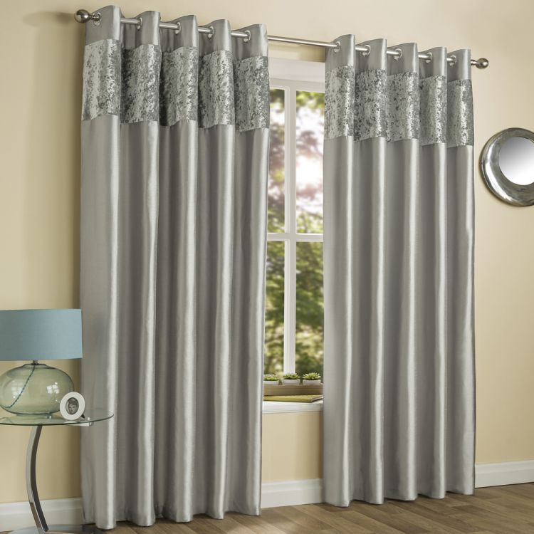 Amalfi Silver Crushed Velvet Eyelet Curtains