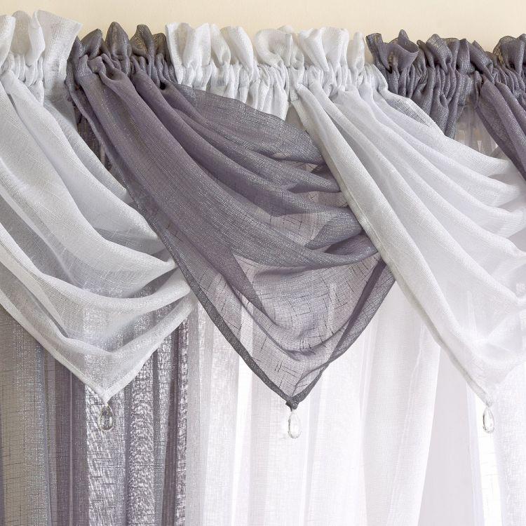 Glitter Sparkle Voile Swag Grey Silver Tonys Textiles