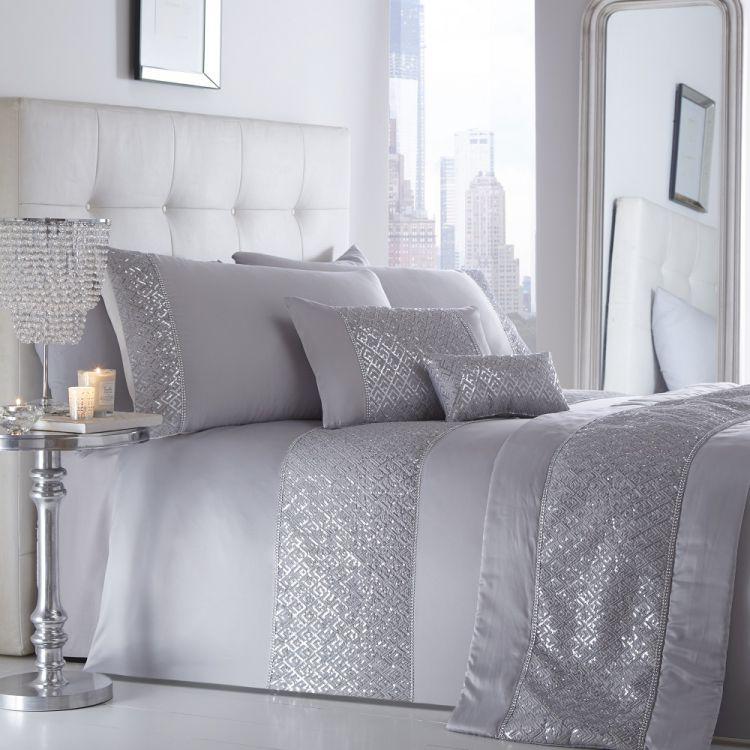 shimmer silver sequin duvet cover set tonys. Black Bedroom Furniture Sets. Home Design Ideas