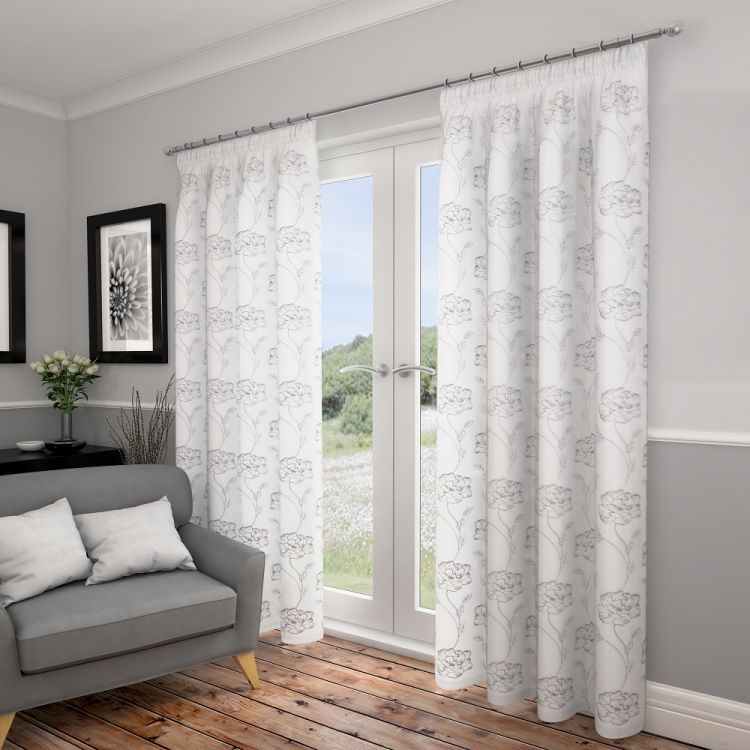 Great Lotus Floral Fully Lined Voile Curtains   White Silver
