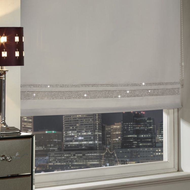 Roller Blind | Diamante | Silver | Blinds | Tonys Textiles