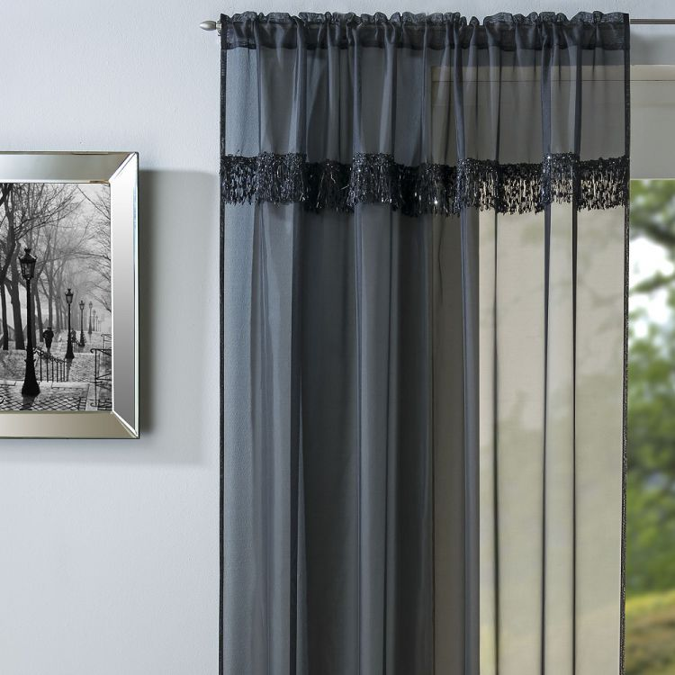 Savannah Voile Curtain Panel Black Slot Top Tonys
