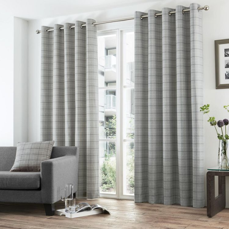 Grey Stripe Check Lined Eyelet Curtains