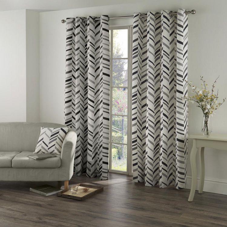 Black Grey Chevron Geometric Curtains Tony S