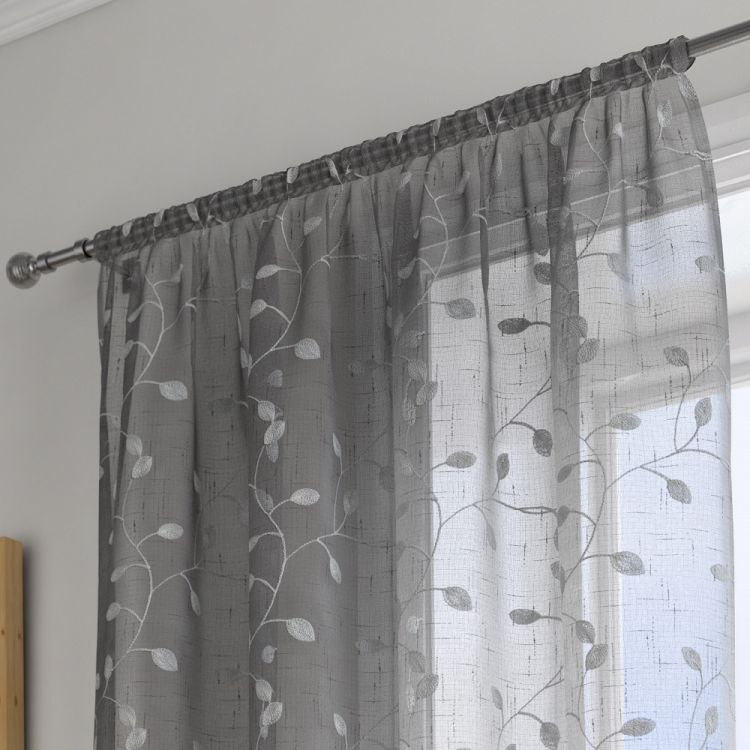 Harrogate Leaf Grey Voile Panel Tonys Textiles