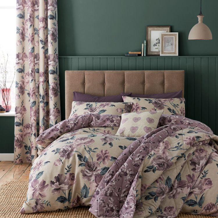 Painted Floral Reversible Bedspread Plum Purple