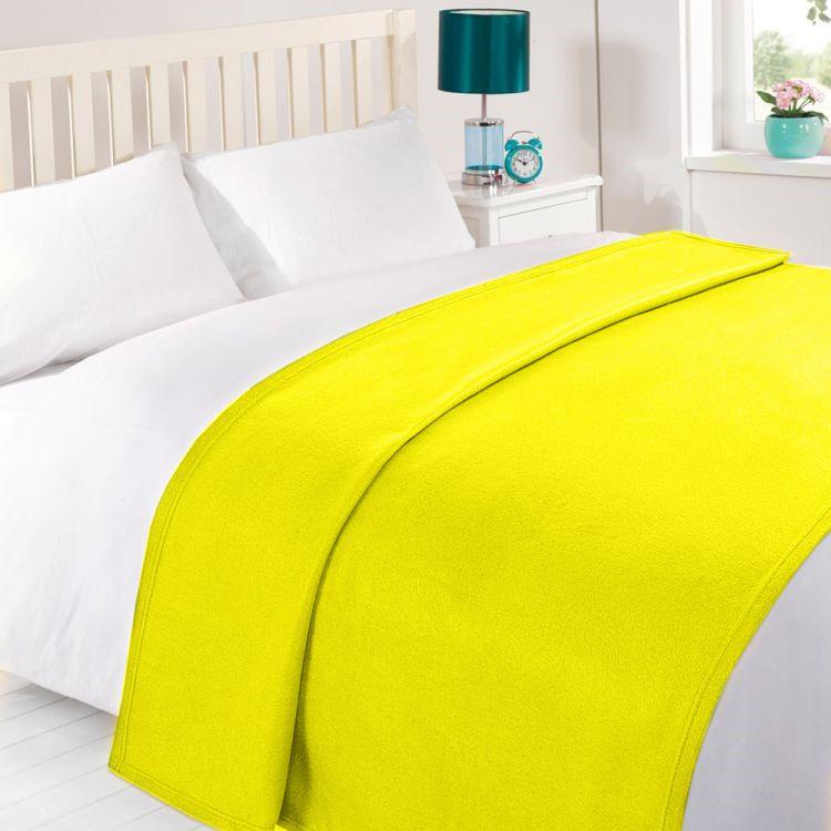 Yellow Plain Fleece Blanket Throw Tonys Textiles