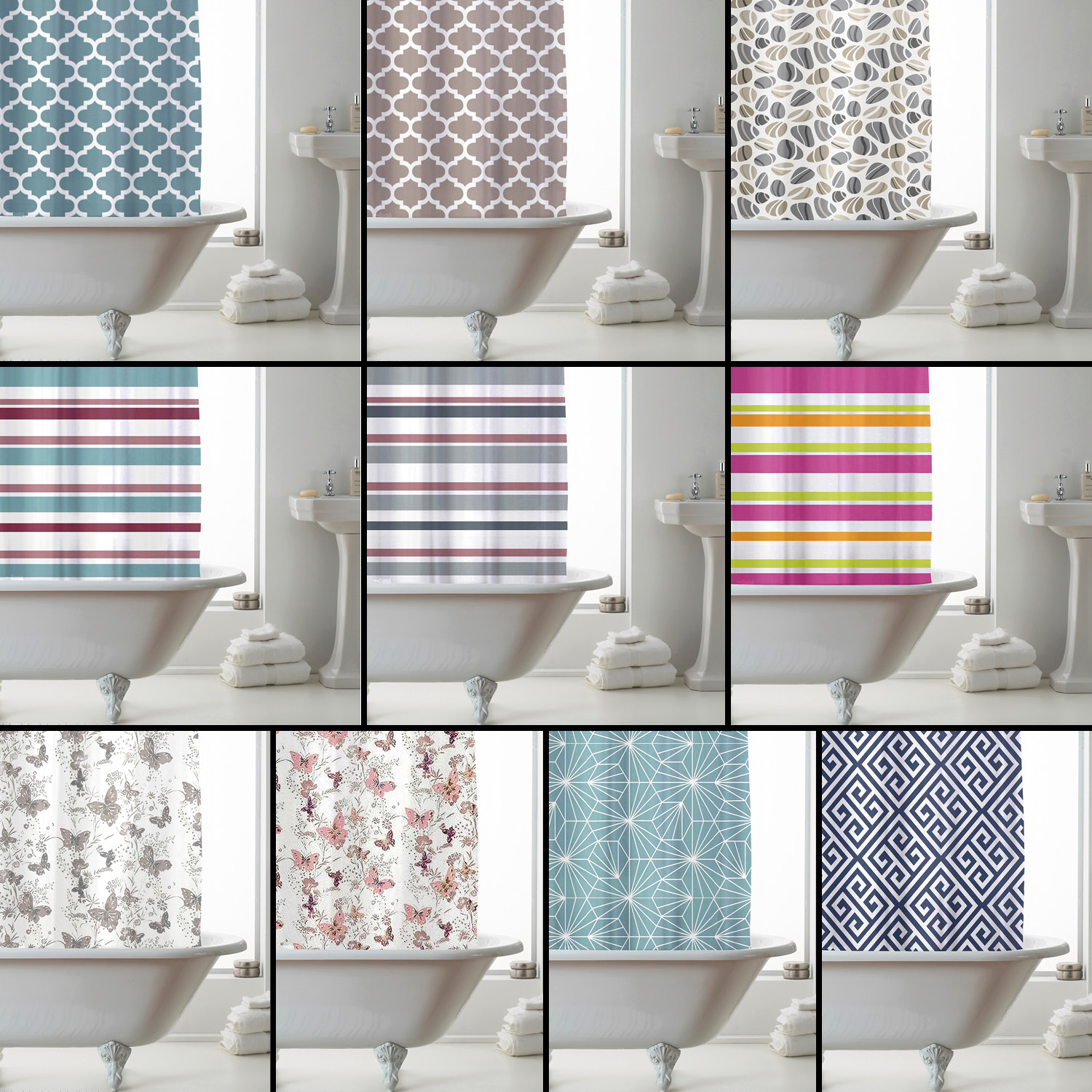 Details About Variety Of Luxury Design Peva Shower Curtain Multicoloured Striped Floral
