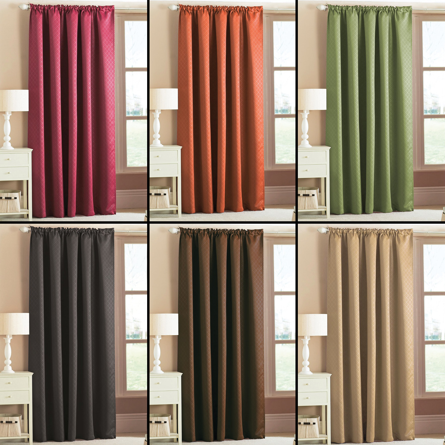 Details About Woven Thermal Blackout Tape Top Curtains Green Orange Brown Black Pink Natural