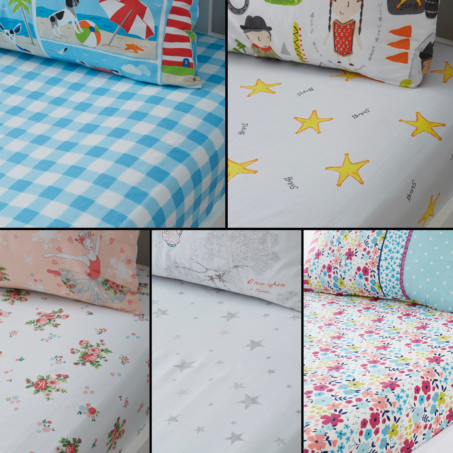 Sentinel Stars Floral Ballerina Check Kids Childrens Fitted Bed Sheets Multi