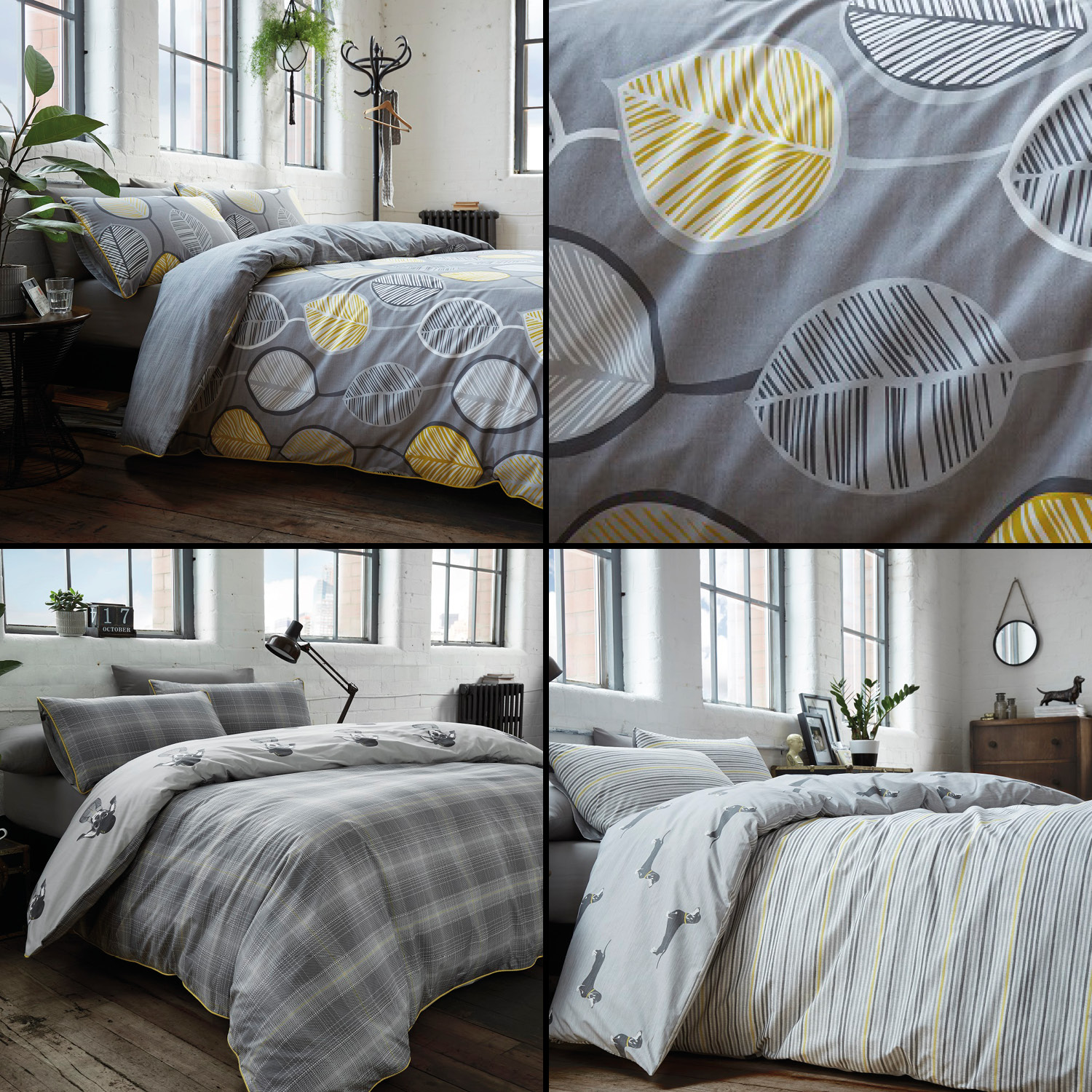 Racing Green Duvet Quilt Cover Polycotton Bedding Sets Grey Yellow