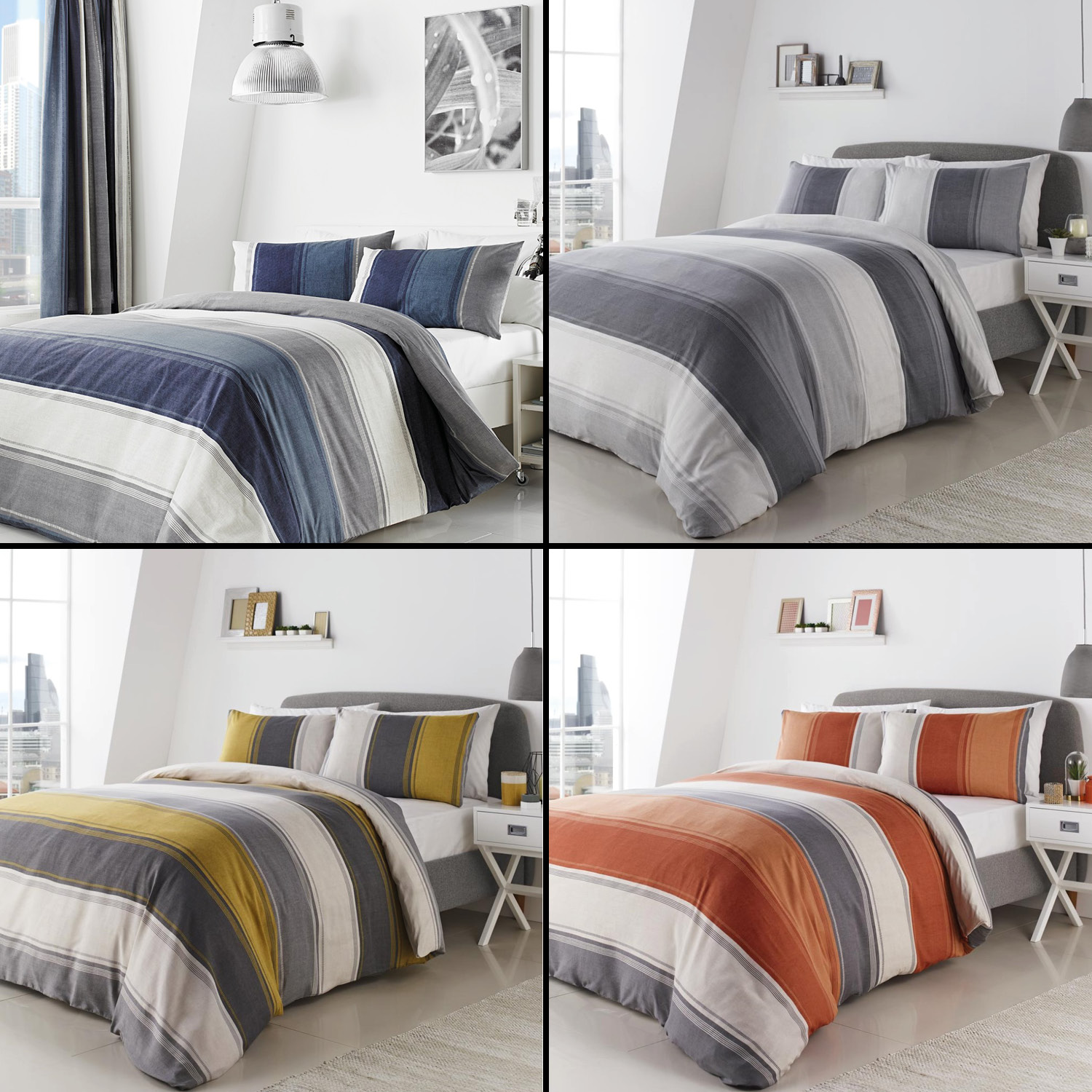 Betley Stripe Duvet Quilt Cover Bedding Set Blue Multi Orange Grey Yellow Ebay
