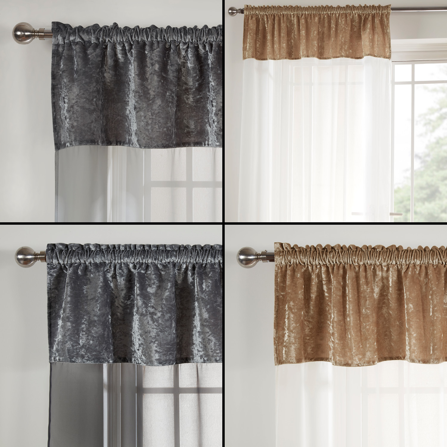 Crushed Velvet Voile Door Window Curtain Panel Black