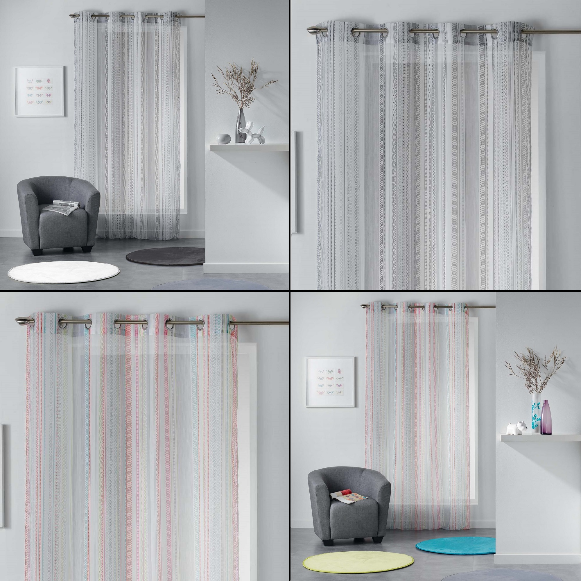 Galoni Eyelet Voile Curtain Panel with Pom Pom Edging Assorted Colours