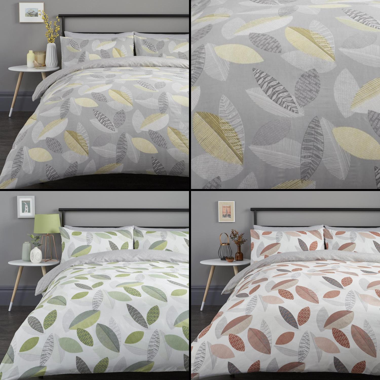 Tazio Leaves Duvet Quilt Cover Bedding Set Grey Orange Green Ebay