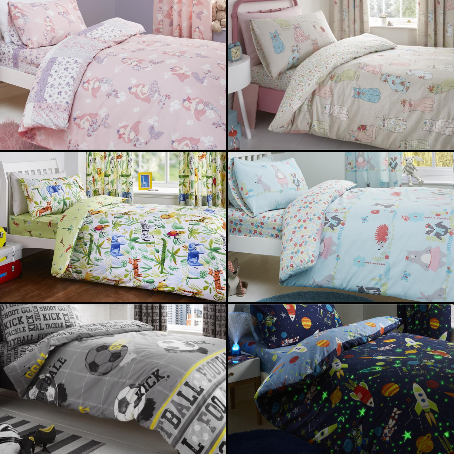 Kids Duvet Cover Set Curtains Fitted Sheet Space Jungle Safari Mermaid Cats Ebay